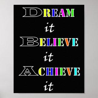 Motivational achievement dreams and believe poster