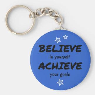 Motivational believe achieve blue key ring