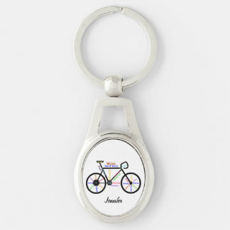 Motivational Bike Words Bicycle Cycle Custom Name Key Ring