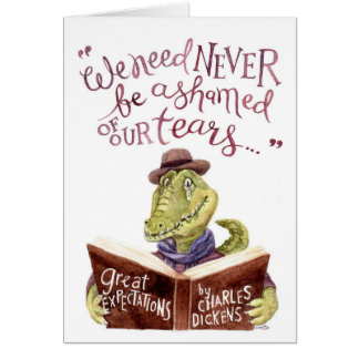 Motivational Charles Dickens Quote Watercolor Croc Card