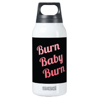Motivational Fitness Burn Baby Black Pink 0.3L Insulated SIGG Thermos Water Bottle