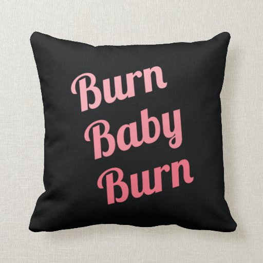 Motivational Fitness Burn Baby Black Pink Throw Pillow