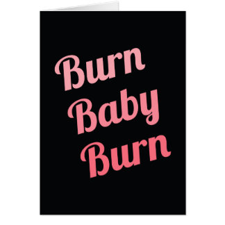 Motivational Fitness Burn Baby Black Pink Greeting Card
