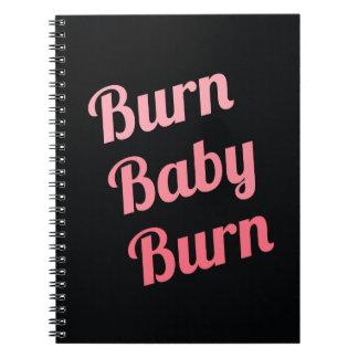 Motivational Fitness Burn Baby Black Pink Note Book