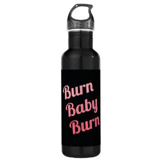 Motivational Fitness Burn Baby Black Pink 710 Ml Water Bottle