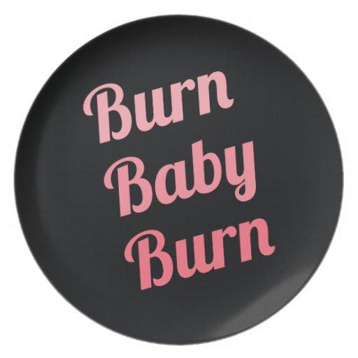 Motivational Fitness Burn Baby Black Pink Plate