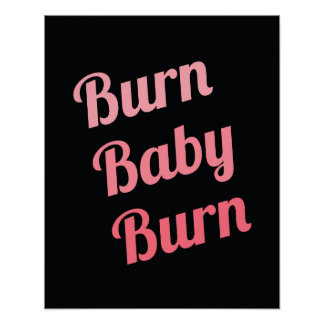 Motivational Fitness Burn Baby Black Pink Poster