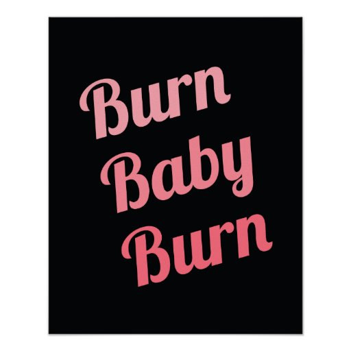 Motivational Fitness Burn Baby Black Pink Print