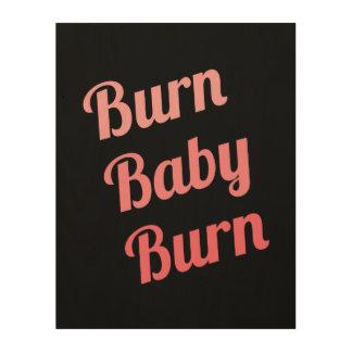 Motivational Fitness Burn Baby Black Pink Wood Prints