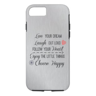 Motivational Happy Life Rules Quotes iPhone 7 Case