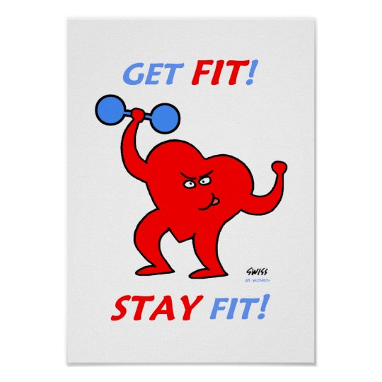 Motivational Heart Fitness Cartoon Gym Poster