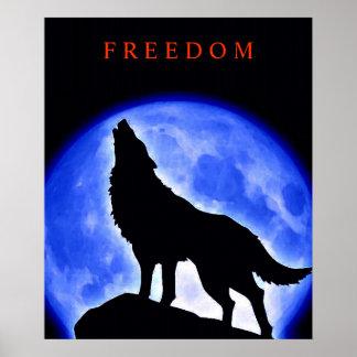 Motivational Howling Wolf Blue Moon Poster