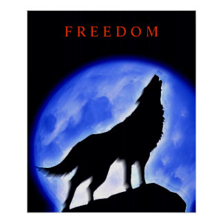 Motivational Howling Wolf Blue Night Moon Poster