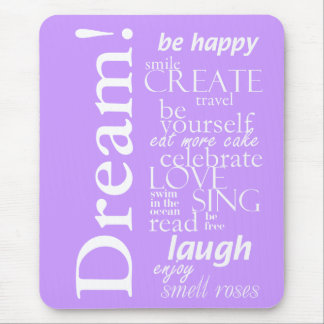 motivational inspirational words - dream, laugh mouse pad