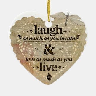 motivational laugh love ceramic heart decoration