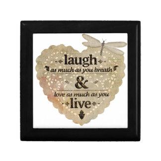 motivational laugh love small square gift box