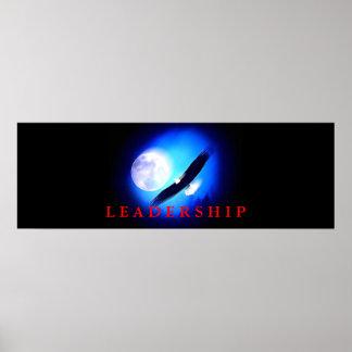 Motivational Leadership Flying Eagle Blue Poster