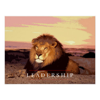 Motivational Leadership Lion Art Poster Print