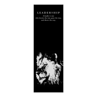 Motivational Leadership Quote Lion Black White Poster