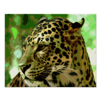 Motivational Leopard Nature Green Colors Poster
