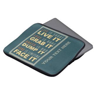 Motivational Life Advice laptop sleeves