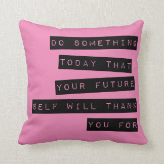 Motivational Pillow: Black & Pink Throw Pillow