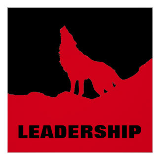 Motivational Pop Art Leadership Wolf Black Red Poster