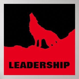 Motivational Pop Art Leadership Wolf Black Red Poster