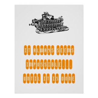 Motivational Poster Retro Typewriter Write Student