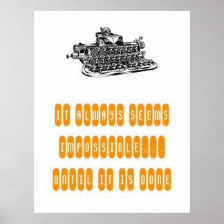 Motivational Poster Retro Typewriter Write Student