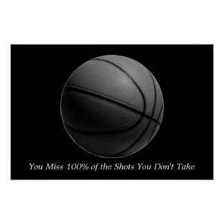 Motivational Quote Basketball Black & White Poster