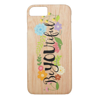"Motivational Quote ""BeYOUtiful"" Boho Floral Type iPhone 7 Case"