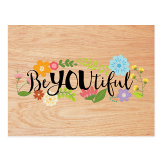 "Motivational Quote ""BeYOUtiful"" Boho Floral Type Postcard"