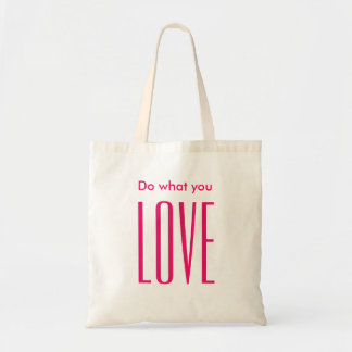 Motivational quote in bold pink modern tote bag