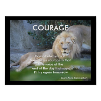 Motivational Quote Lion Hearted Courage Poster