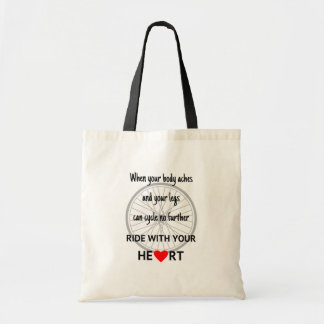 Motivational ride with heart cycling budget tote bag