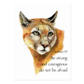 Motivational Scripture Joshua Cougar Animal art Postcard
