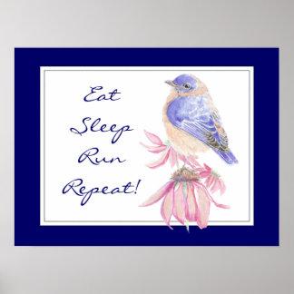 Motivational Sport Quote Bluebird Bird Garden Poster