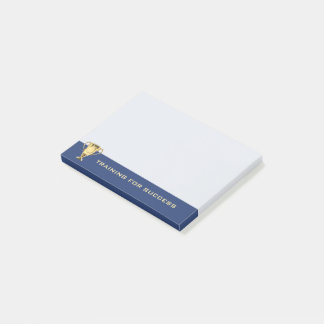 Motivational training for success navy blue post-it notes
