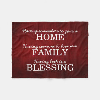 Motivational Typography Family Quote Fleece Blanket