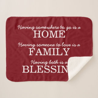 Motivational Typography Family Quote Sherpa Blanket