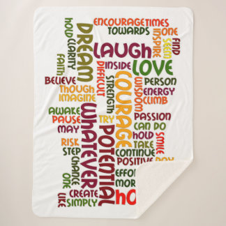 Motivational Words for positive encouragement Sherpa Blanket