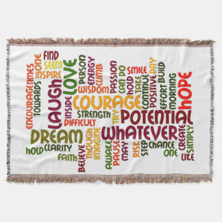 Motivational Words for positive encouragement Throw Blanket