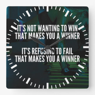 Motivational Words - Refuse To Fail - Workout Square Wall Clock