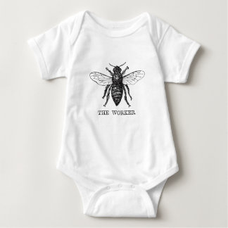 Motivational Worker Bee Black and White Baby Bodysuit
