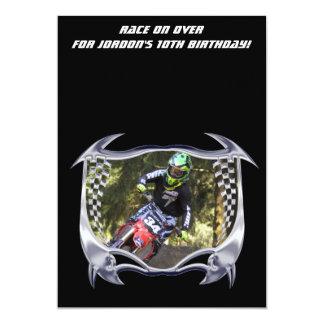 Motocross and chrome 13 cm x 18 cm invitation card