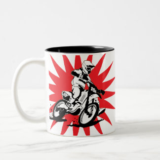 Motocross Bike on Red Star Background Two-Tone Coffee Mug