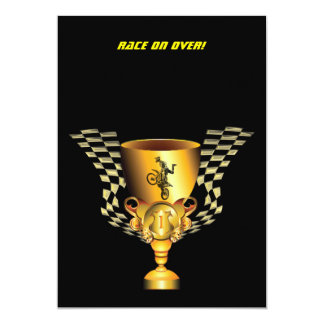 Motocross champion trophy with Checkered flags 13 Cm X 18 Cm Invitation Card