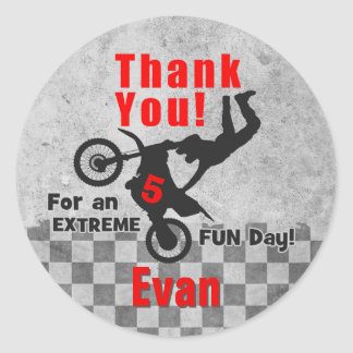 Motocross Dirt Bike Birthday Thank You Stickers