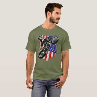 Motocross Dirt Bike Distressed American Flag Tee